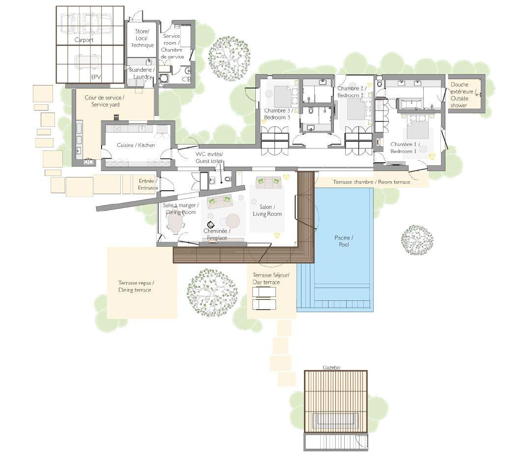 Complexe de villa contemporaine golf immomaroc for Plan de villa de luxe