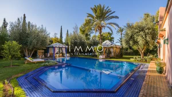 Vente villa Marocain épuré prestige a vendre Marrakech Palmeraie Circuit Palmeraie